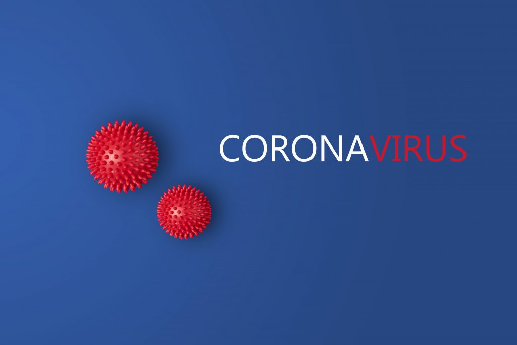 Blue and red image with Coronavirus text.
