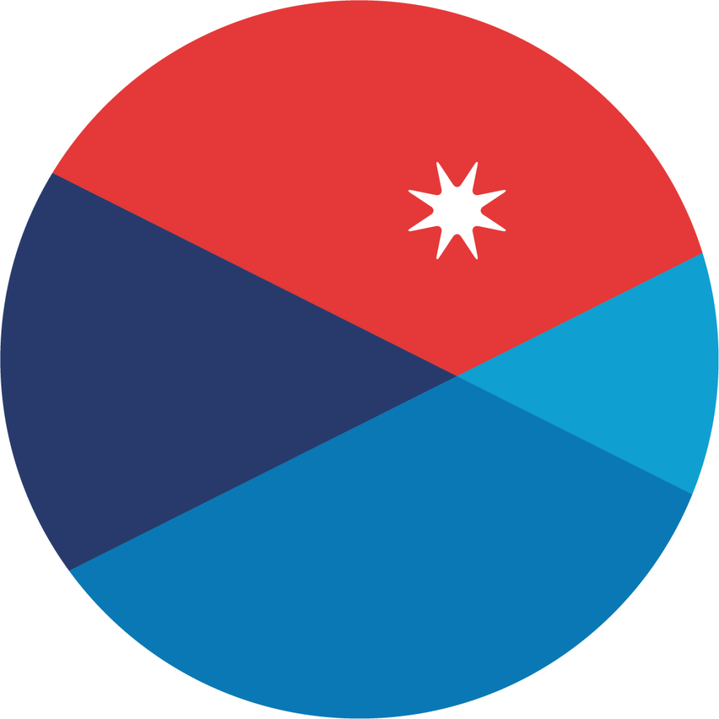 Image Description: A Colored Circle with a star at the top, bisected into 4 different colors: three shades of blue and red.