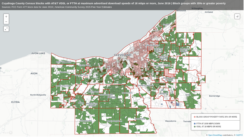 NDIA Map of AT&T fiber network in Cleveland