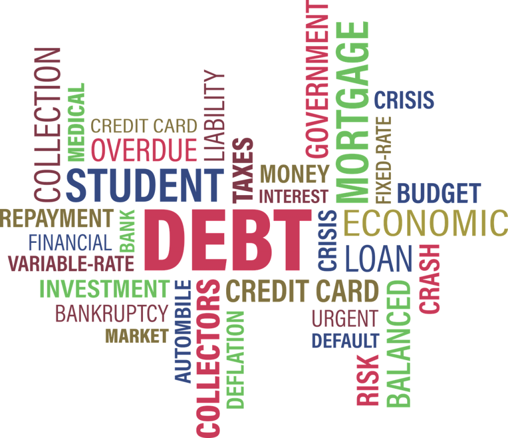 Word cloud that includes debt related words like student, debt, and credit card.