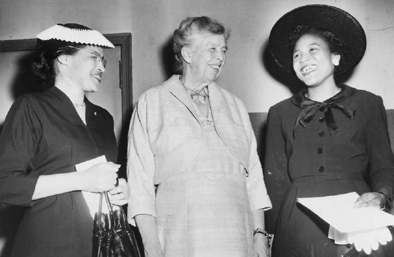 Black and white photo of Rosa Parks, Eleanor Roosevelt, and Autherine Lucy Foster