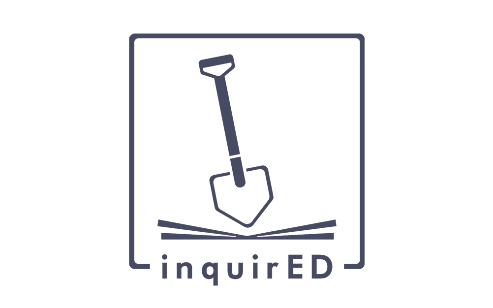 Image Description: inquirED logo that includes a shovel standing straight up over the world inquirED.
