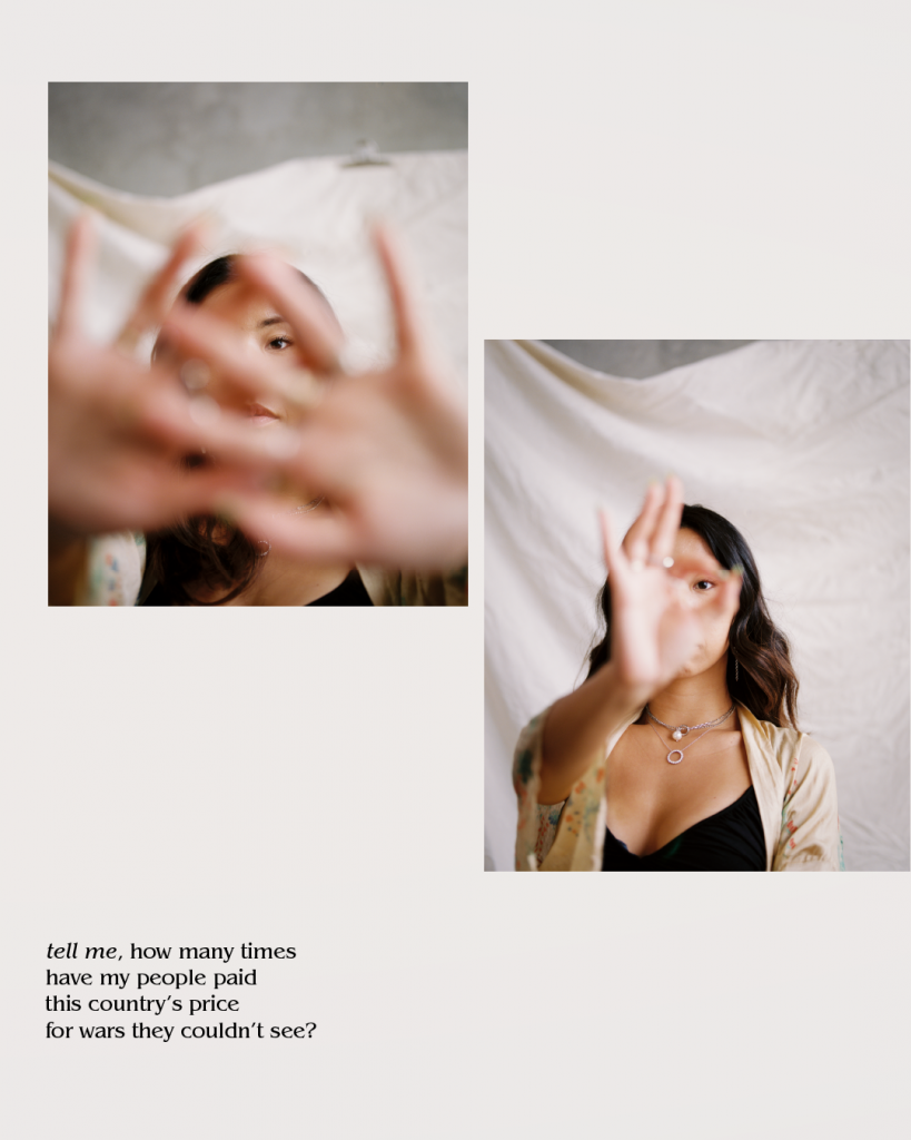 Image Description: Two pictures. One is of an Asian American women holding her hands two hands in front of her face. The second is of the same women holding one hand out in front of her fact. There is a white sheet behind her in both photos. .