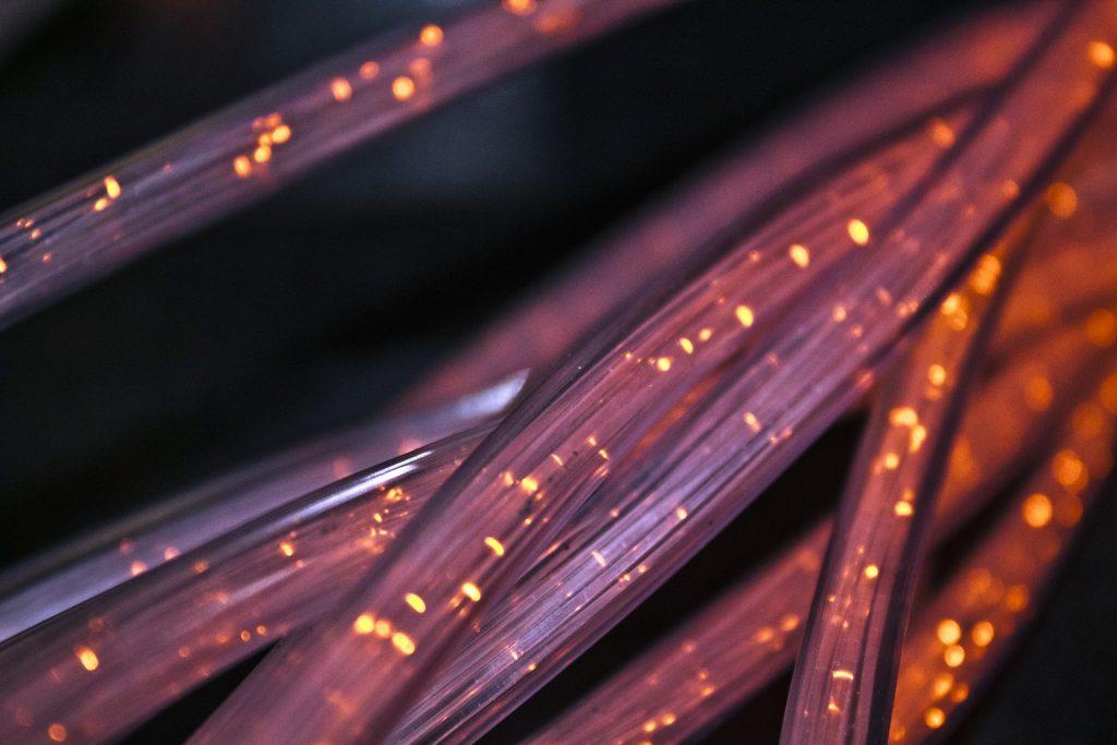 Image Description: Picture of red fiber cable