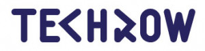 Image Description: Blue TechRow Logo consisting of the word TechRow in a unique font.