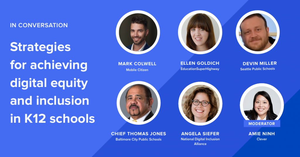 Image Description: 6 circles on a blue background featuring the faces of three men and three women. It also includes the text In Coversation: Strategies for achieving digital equity and inclusion in K12 schools.